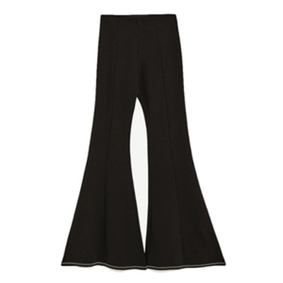 Bell Bottom Trousers With Topstitching