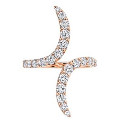 Diamond Double-Curve Ring