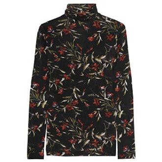 Floral-Print Stretch-Jersey Turtleneck Top