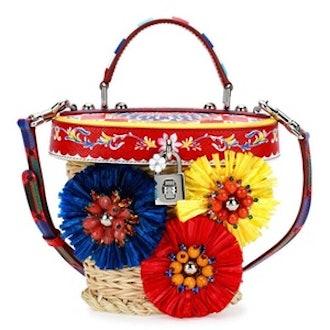 Small Straw Flower Top Handle Crossbody Bag