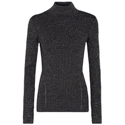 Tess Metallic Merino Wool-Blend Turtleneck Sweater