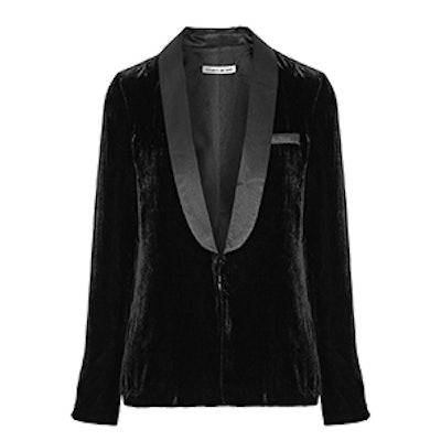 Ambrose Satin-Trimmed Velvet Blazer