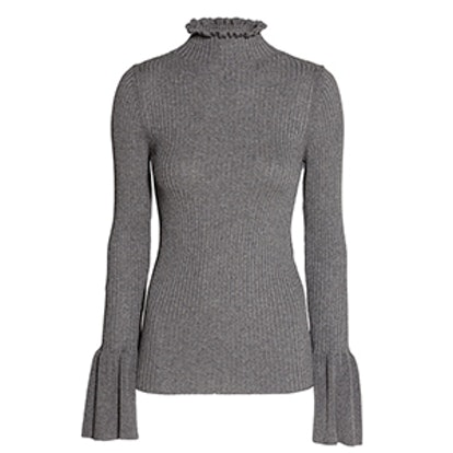 Ruffled Rib-Knit Sweater