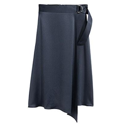 Wrapover Satin Skirt