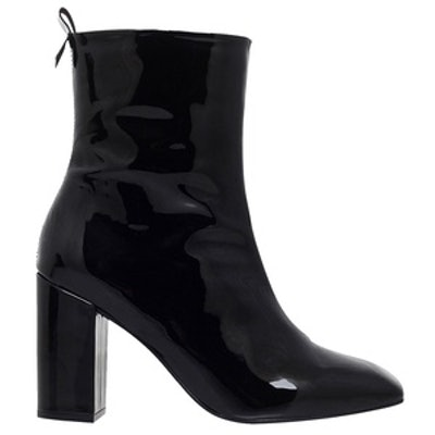 Strut Patent-Leather Ankle Boots