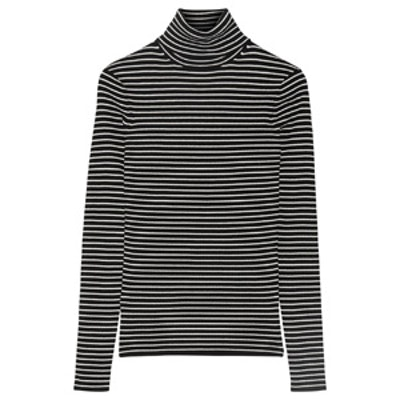 Striped Ribbed-Knit Turtleck Sweater
