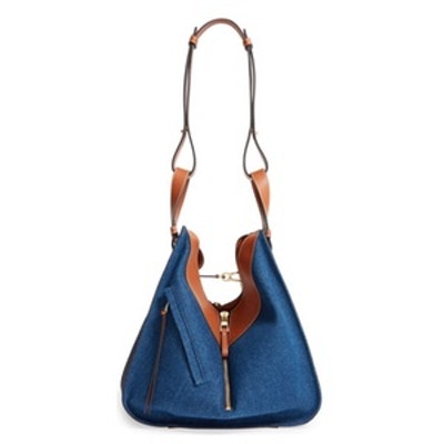 Large Hammock Denim & Leather Hobo