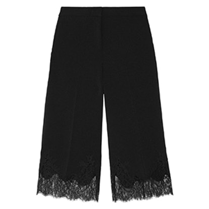 Cropped Lace-Trimmed Stretch-Crepe Wide-Leg Pants