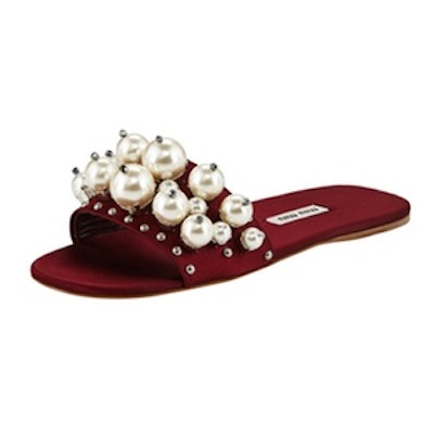 Pearly Embellished Satin Mule Slide