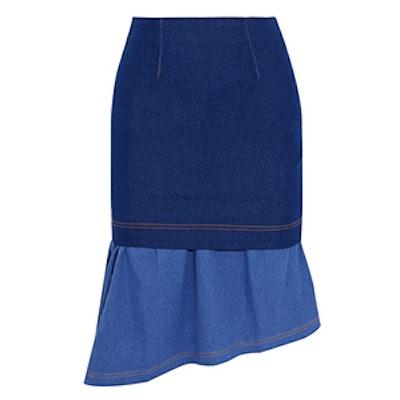 Hamilton Asymmetric Layered Stretch-Denim Skirt
