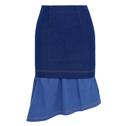 Hamilton Asymmetric Layered Stretch-Denim Skirt