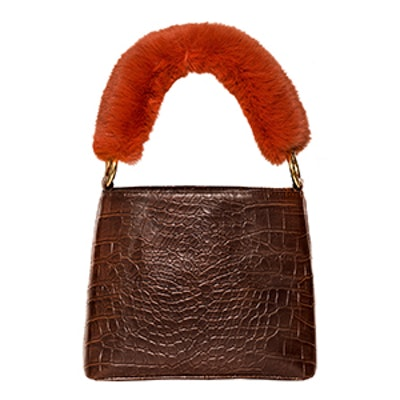 Croc Fur Handle Bag