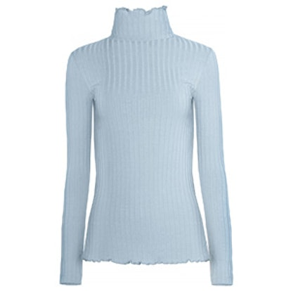 Pale Blue Ribbed Long Sleeve Top