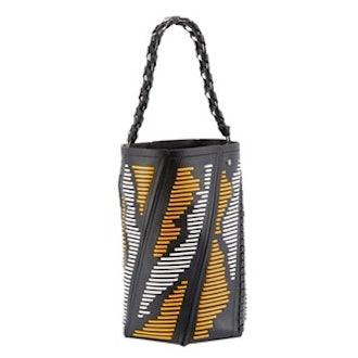 Hex Medium Woven Leather Bucket Bag
