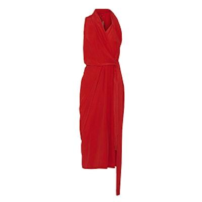 Crepe de Chine Wrap Midi Dress