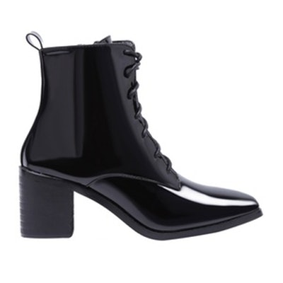 Black Patent Leather Point Toe Lace Up Booties