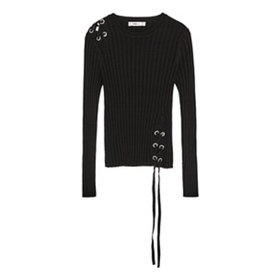 Ribbed Sweater With Cord
