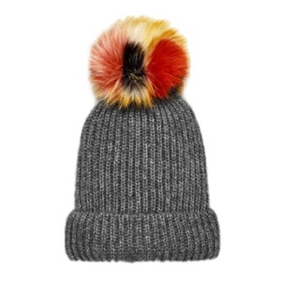Rib Knit Hat With Pom-Pom
