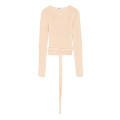Cropped Sweater With Ribbon