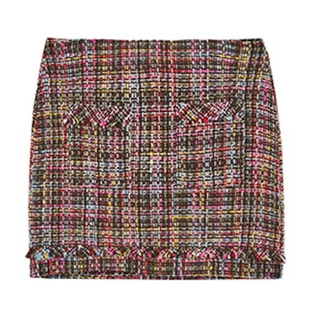 Short Tweed Frayed Skirt