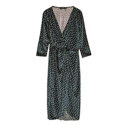 Polka Dot Dress With Crossover Neckline