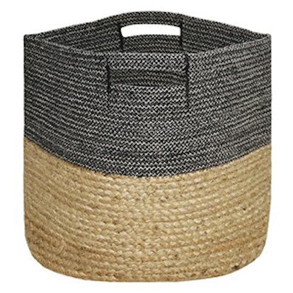 Large Round Woven Storage Basket- Dark Grey