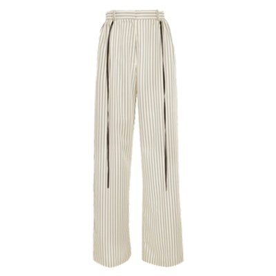 Striped Twill Wide-Leg Pants