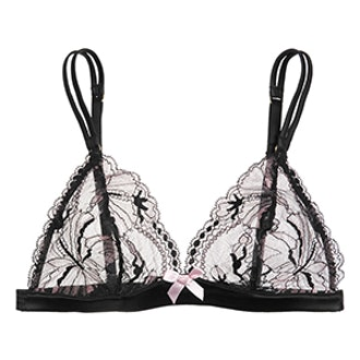 Macie Leavers Lace And Satin Soft-Cup Triangle Bra