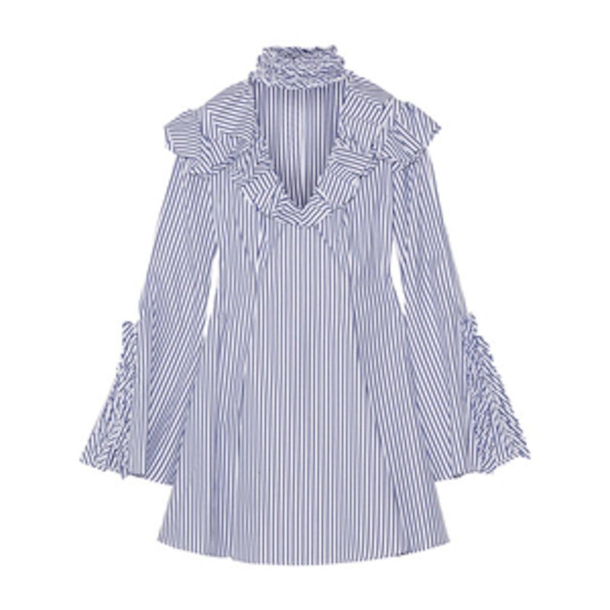 Micki Ruffled Striped Cotton Oxford Mini Dress