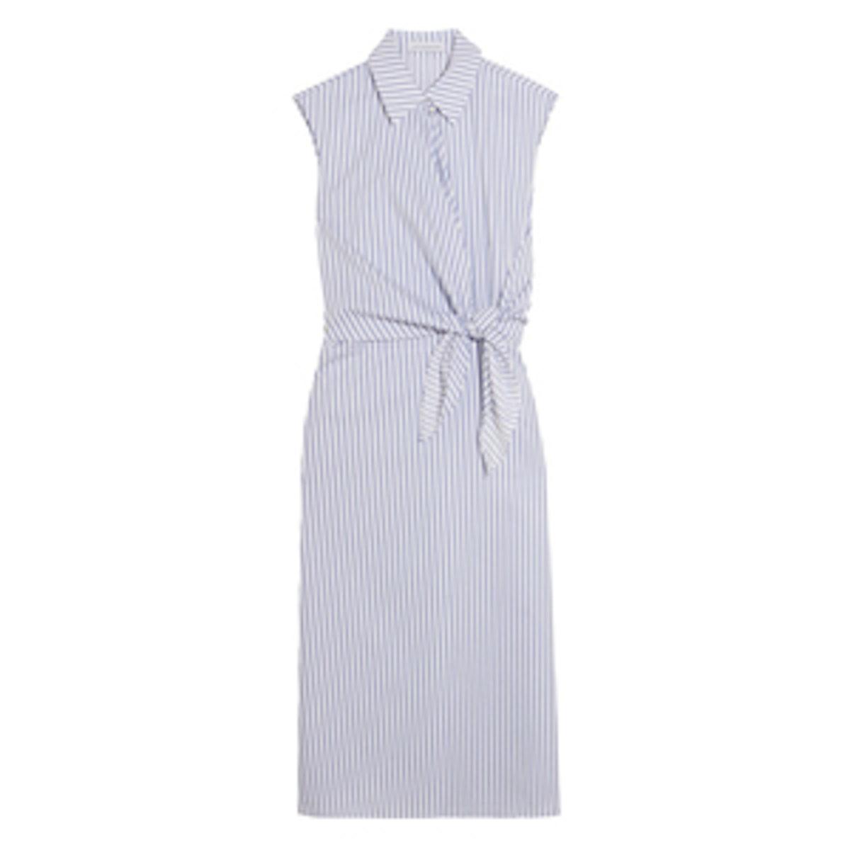 Knotted Striped Cotton Shirt Dress