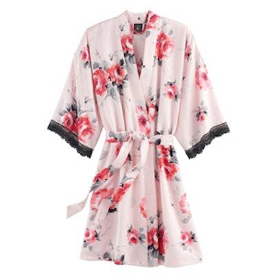 Fantasy Bouquet Satin Kimono Wrap Robe