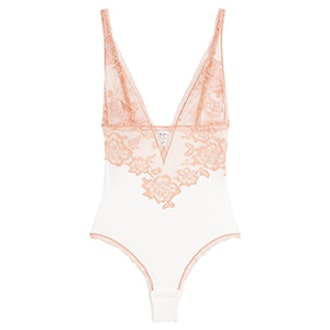 Embroidered Bodysuit With Lace