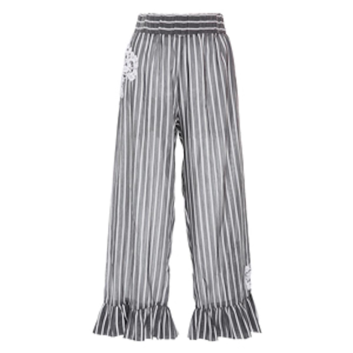Jesi Lace-Appliqued Striped Pants