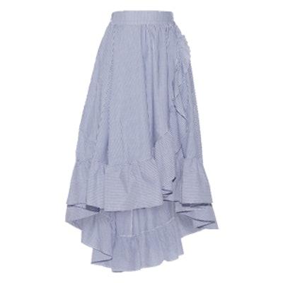 Wrap-Effect Ruffled Striped Poplin Midi Skirt