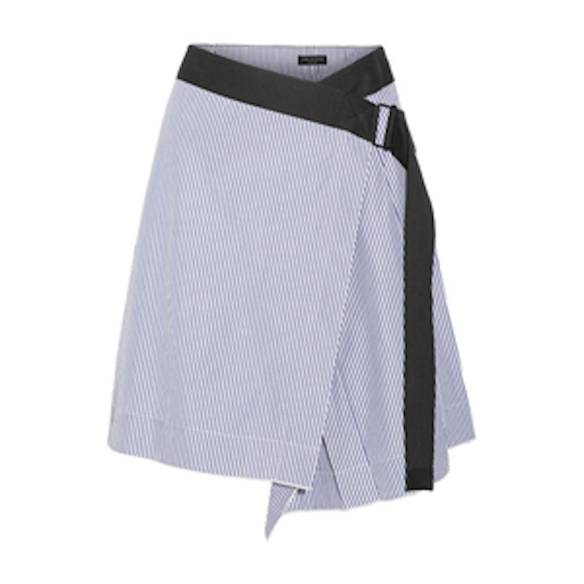 Lenna Striped Cotton And Silk-Blend Wrap Skirt