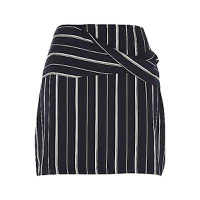 Navy Blue Wrap Front Pinstripe Mini Skirt