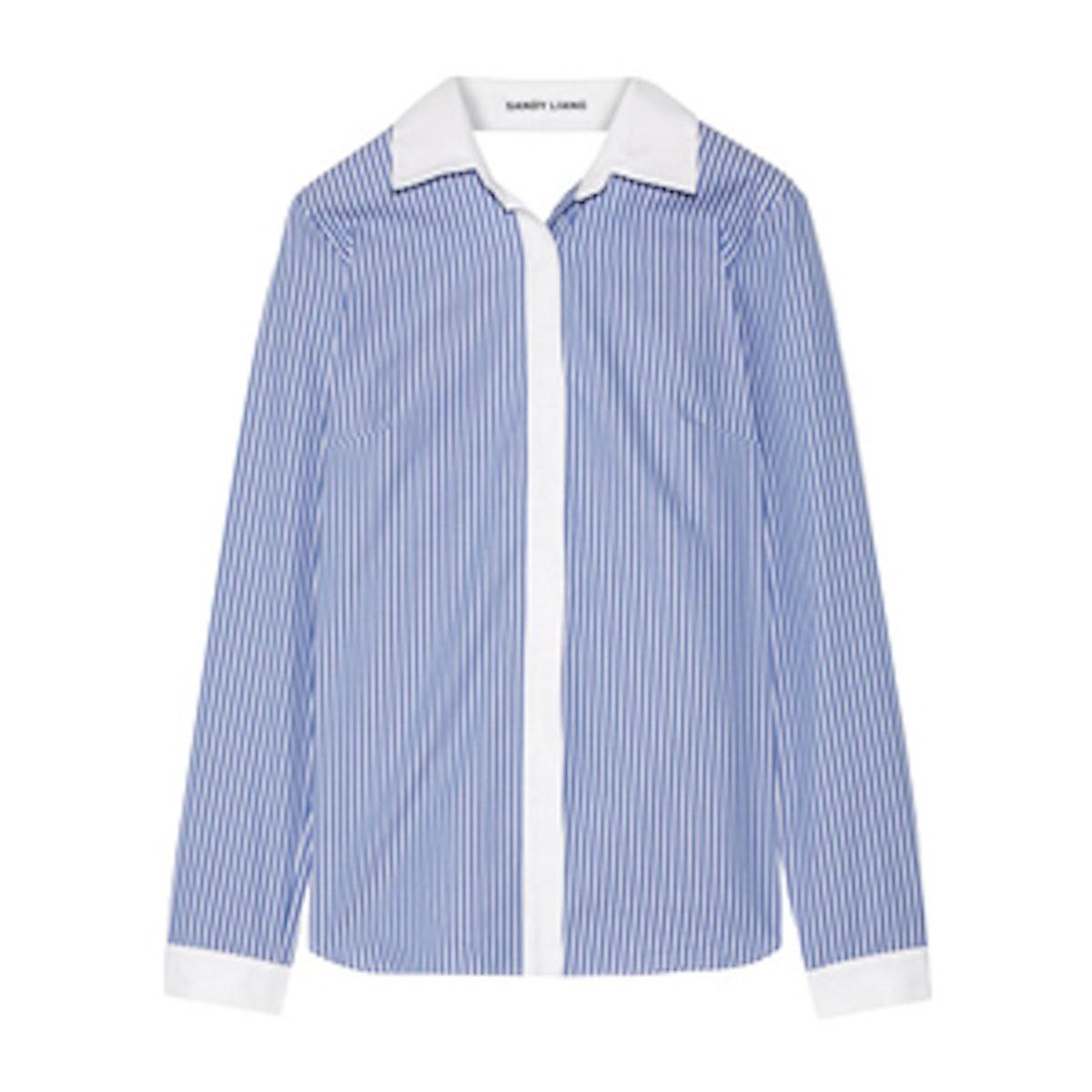 Enzo Open-Back Wrap-Effect Ruffled Striped Cotton-Poplin Shirt