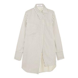 Asymmetric Striped Twill Shirt