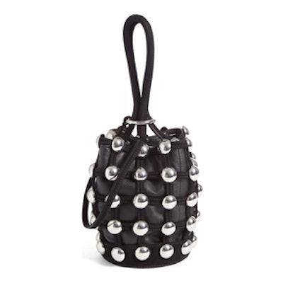 Mini Roxy Studded Suede Bucket Bag