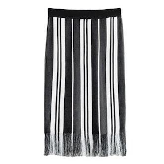 Striped Fringe Knit Skirt