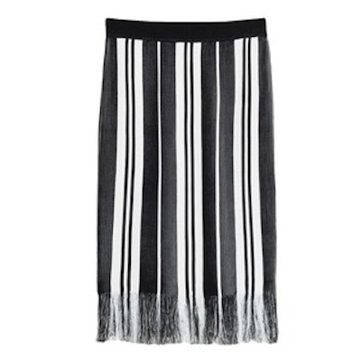 Striped Fringe Knit Skirt