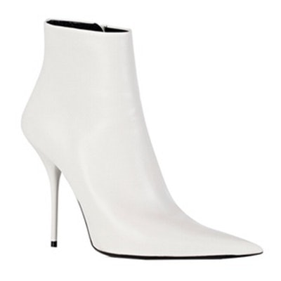 Grained Leather Pointed-Toe Booties