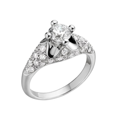 Corona Ring In Platinum With Round Brilliant Cut Diamond And Pavé Diamonds