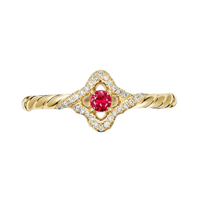 Venetian Quatrefoil Ring With Ruby And Diamonds In 18K Gold