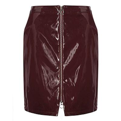 Patent Zip A-Line Skirt