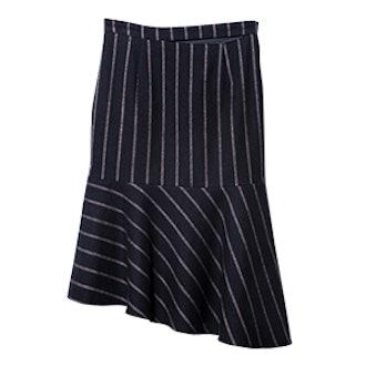 Pinstripe Peplum Midi Skirt