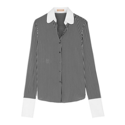 Poplin-Trimmed Striped Silk Crepe de Chine Shirt