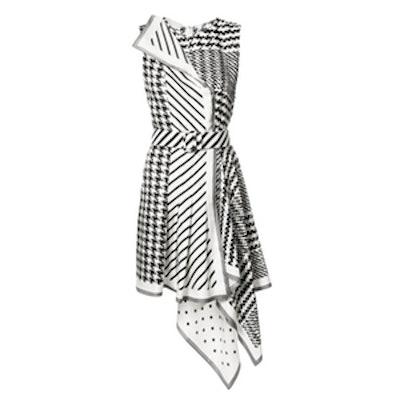 Houndstooth Striped Asymmetric Dress