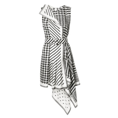 Houndstooth Striped Asymmetric Dress