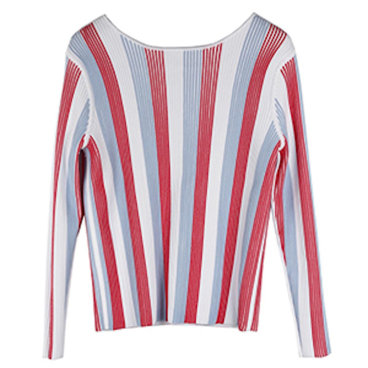 Norah Ribbed Deep V Reversible Pullover
